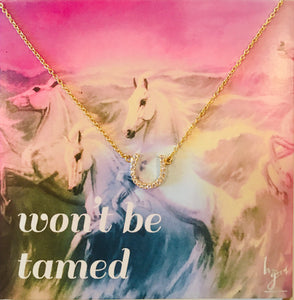 Petite pave horseshoe necklace on won't be tamed card