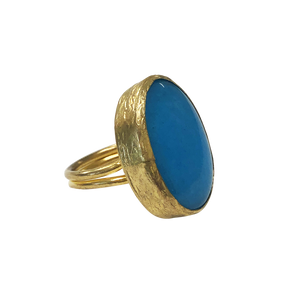 MARINE BLUE QUARTZ STATEMENT RING