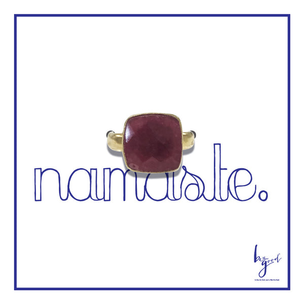 RUBY QUARTZ FACETED MIDI RING
