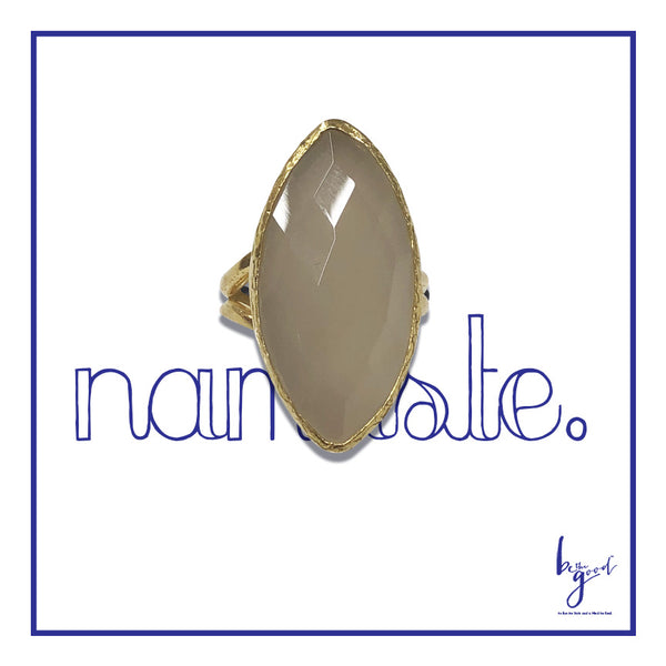 CHALCEDONY  FACETED MARQUIS STATEMENT RING