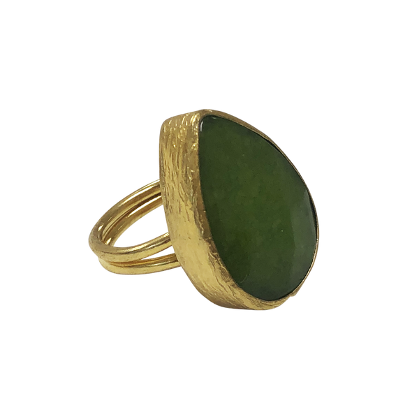 LIGHT GREEN TEARDROP AVENTURINE AND BRONZE RING