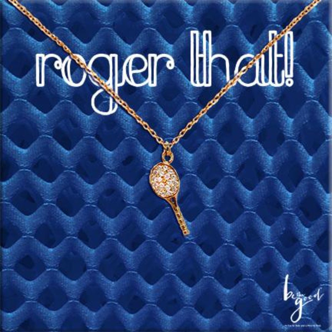 ROGER THAT PAVE TENNIS RACKET NECKLACE