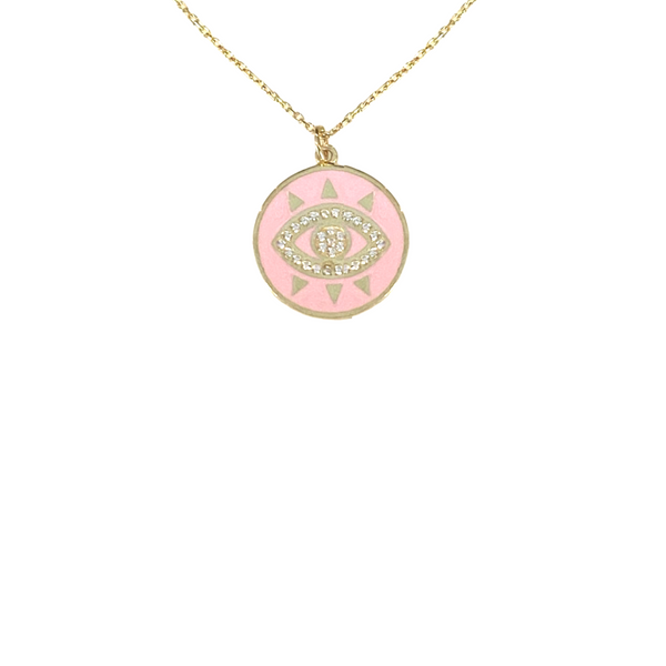 ROSE CRYSTAL ENAMEL THIRD EYE NECKLACE