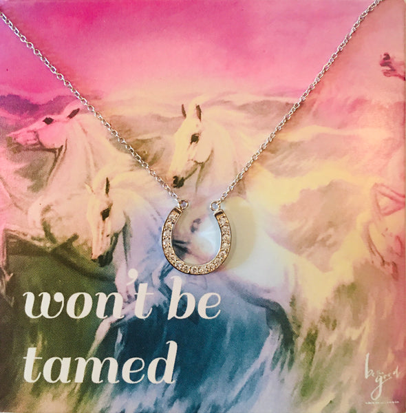 Classic Silver Horseshoe Necklace on Won't be tamed card