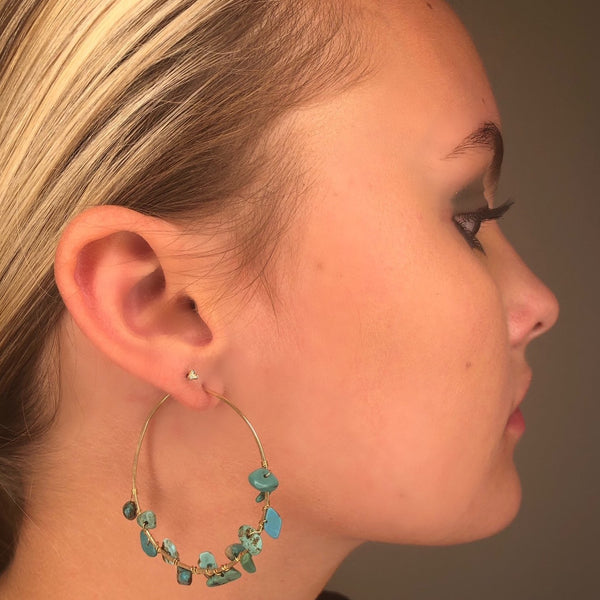 TURQUOISE WRAPPED HOOPS