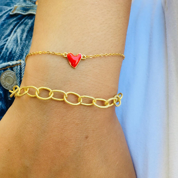 RED HEART ENAMEL BRACELET