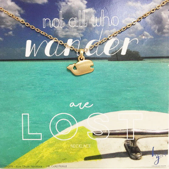 NOT ALL WHO WANDER ARE LOST WHALE ICON NECKLACE