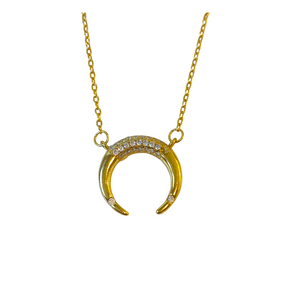 PAVE TIPPED DOUBLE HORN NECKLACE