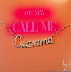 GLAMMA PAVE STATEMENT NAMEPLATE NECKLACE