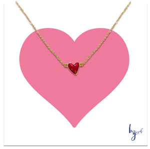 RED HEART ENAMEL  NECKLACE