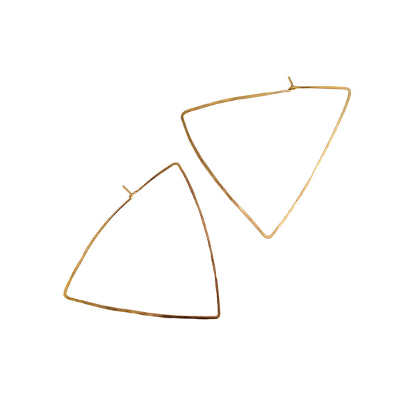 HAND HAMMERED TRIANGLE HOOPS