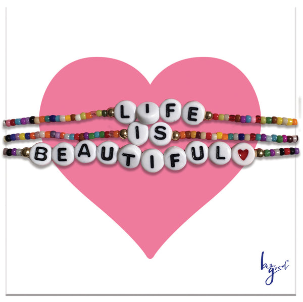 MIYUKI LIFE IS BEAUTIFUL TRIPLE WRAP BRACELET