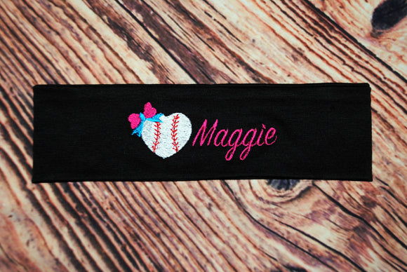 Baseball Heart + Name Headband