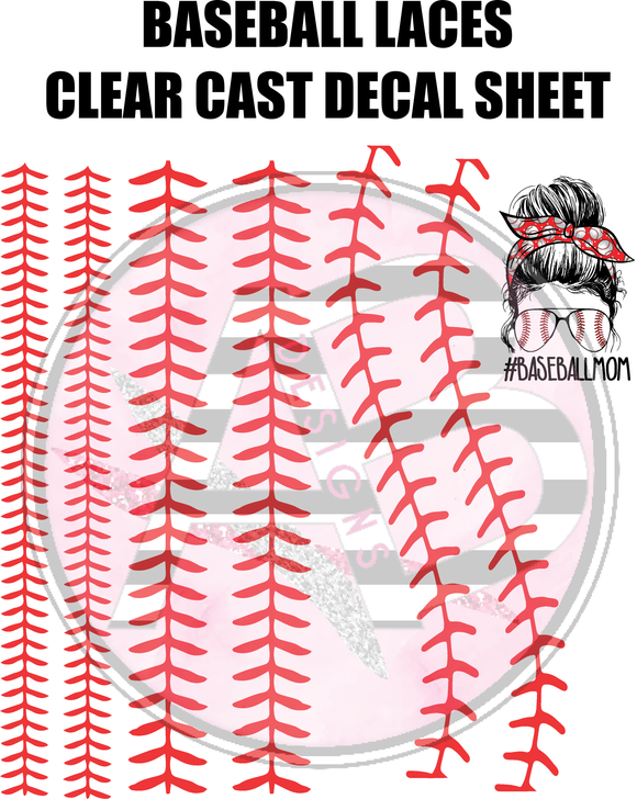 Baseball laces Full Sheet 12x12 Clear Cast Decal