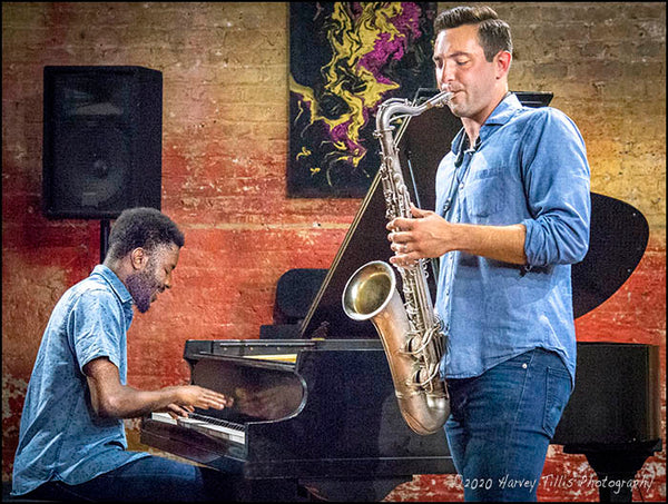 music photograph - color photo of Angelo Hart and Jake Ward performing at Chicago's Fulton Street Collective.