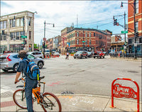 Damen Milwaukee and North Avenues with Bicycle