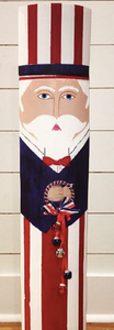 Hand painted Uncle Sam on shaped cypress plank