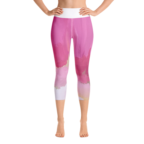 Pink abstract yoga leggings