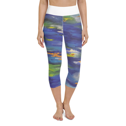 Blue Abstract Yoga Capri Leggings