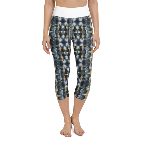 Black and Gold Yoga Capri Leggings