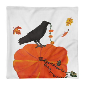 Pumpkin and crow pillow