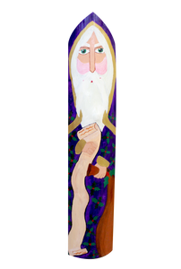 Hand painted Santa on shaped cypress plank