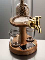 Empty Refillable Decanter With Barley Tap And Whisky Glasses