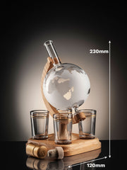 Empty Frosted Glass Globe Decanter With 4 Shot Glasses