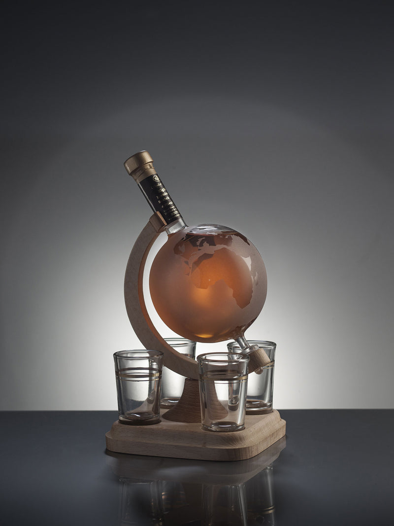 Handcrafted Globe Whisky Decanter with four glasses