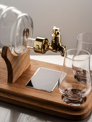 Empty Glass Refillable Barrel Decanter And 2 Glasses