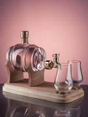 Pot Still Decanter with Tap and two glasses