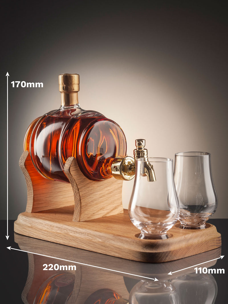 Unique mouth-blown Barrel Whisky Decanter