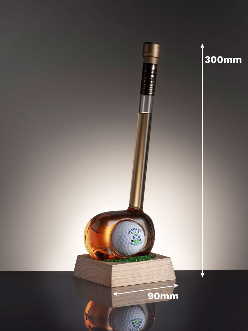 Golf Club Whisky Bottle with Message Plaque