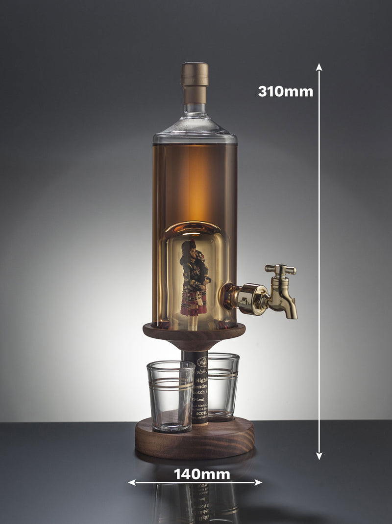 Bagpiper Tap Decanter with two glasses