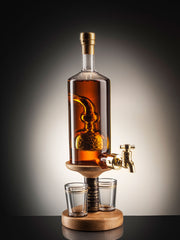 Barley Tap Whisky Decanter with two glasses
