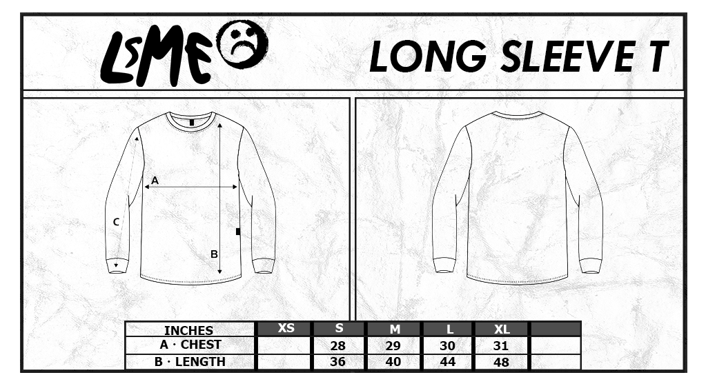 lsME Long Sleeve-T Size Chart