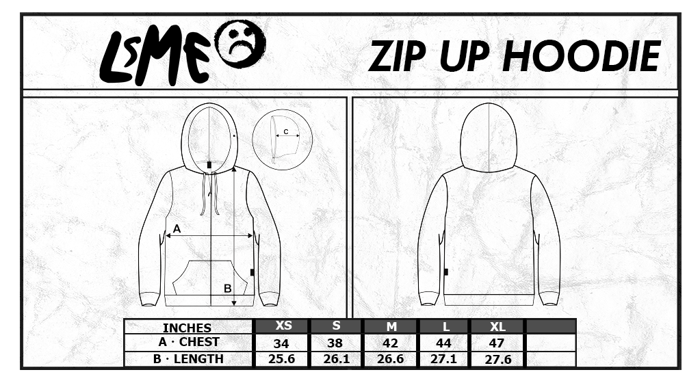 LsME Zip-Up Hoodie Size Chart