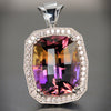 Ametrine Quartz Gemstone Pendant with Fine Diamonds
