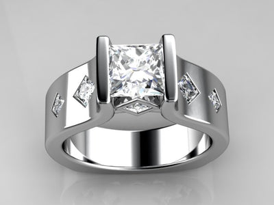 Channel Set Princess Diamond Engagement Ring With Princess Accents