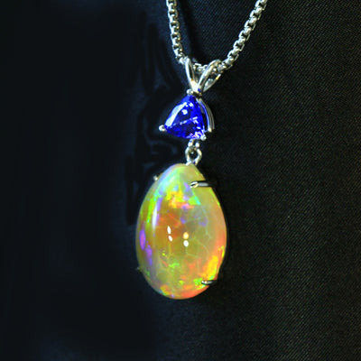 Tanzanite and opal pendant