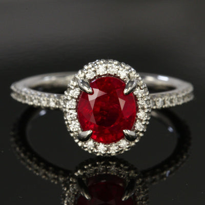 Platinum Burma Ruby  and Round Brilliant Diamond Ring
