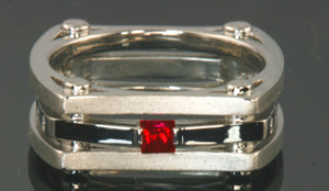 Christopher Michael Designed Unique Men's Wedding Engagement Ring With Diamond and Ruby