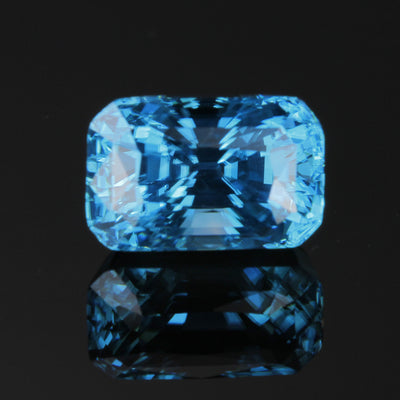 Blue Rectangle Cushion Cut Zircon Gemstone 9.09 Carats