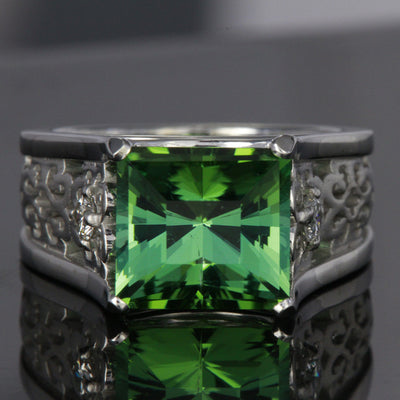 Green Tourmaline Ring in White Gold