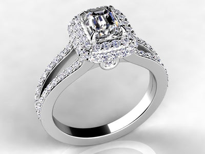 Emerald Cut Halo Style Engagement Ring by Christopher Michael