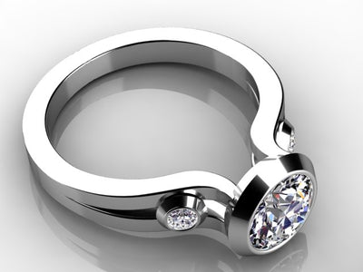 Christopher Michael Designed Bezel Set Round Brilliant  Diamond Engagement Ring