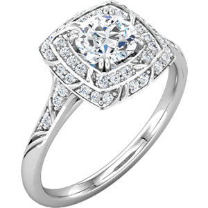 Sculptural Double Halo Engagement Ring for 1 carat Round Diamond