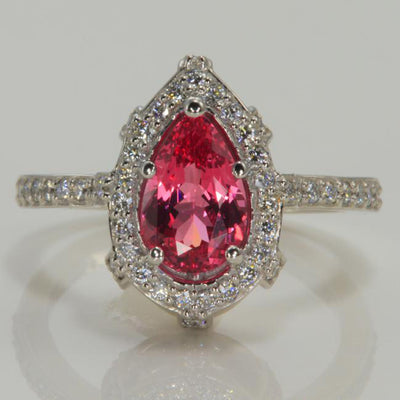 14K White Gold Pear Shape Tanzanian Spinel with Fine Diamonds Ring