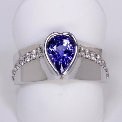 14K White Gold Wide Band Sapphire and Diamond Ring Designed By Christopher Michael