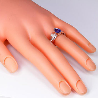 14K White Gold Wide Band Sapphire and Diamond Ring Designed By Christopher Michael On Manikin